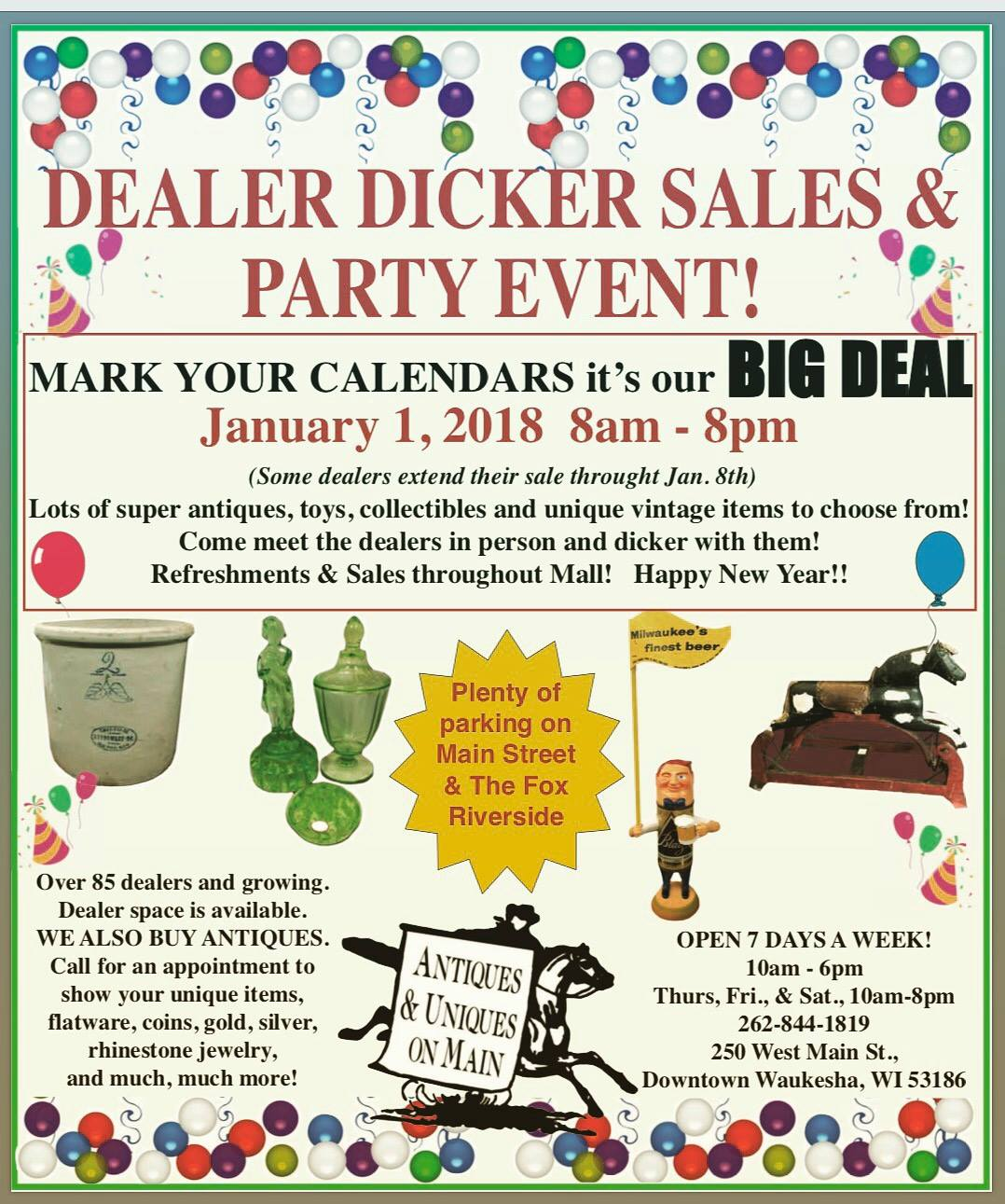 Dealer Dicker Day Waukesha Antiques & Uniques on Main