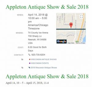 Appleton Antique Show & Sale 2018 @ Tri County Ice Arena | Neenah | Wisconsin | United States