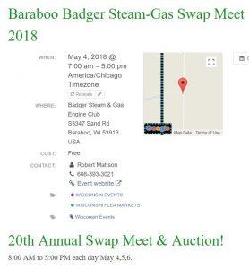 Baraboo Badger Steam-Gas Swap Meet 2018 @ Badger Steam & Gas Engine Club | Baraboo | Wisconsin | United States