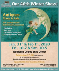 Wisconsin Antique Dealers Association Show 2020 @ Waukesha County Expo Center Forum Building | Waukesha | Wisconsin | United States