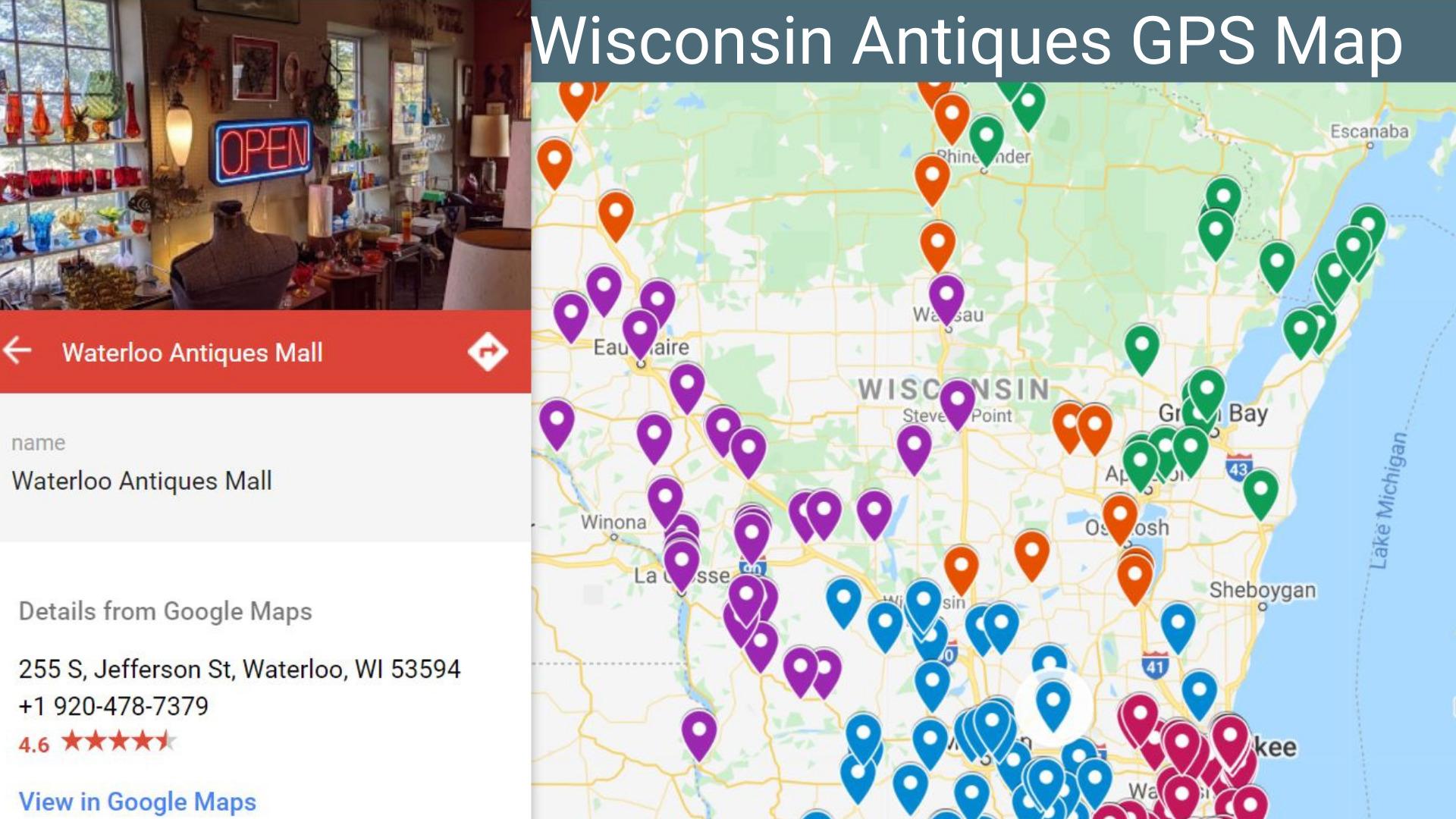 Wisconsin Antique Adventures Map